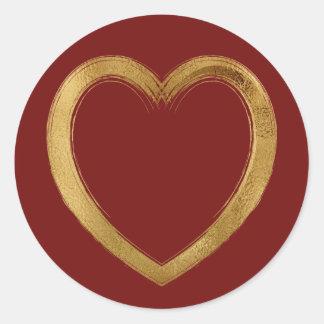 Gold Colred Whimsy Valentine Wedding Heart Classic Round Sticker
