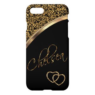 Gold Confetti and Black with Gold Script Name iPhone 7 Case