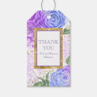 Gold Confetti and Blue and Purple Floral Pack Of Gift Tags