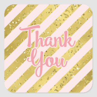 Gold Confetti and Foil with Pink Stripe Thank You Square Sticker