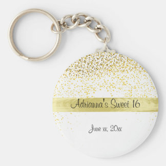 Gold Confetti and Satin, Sweet Sixteen, Custom Keychain
