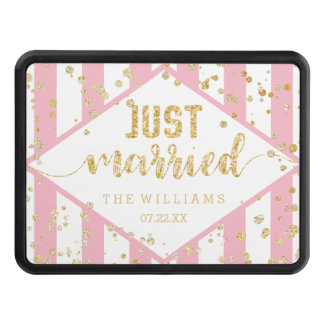 Gold Confetti & Any Color Stripes Just Married Trailer Hitch Cover