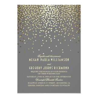 Gold Confetti Art Deco Elegant Vintage Wedding Card