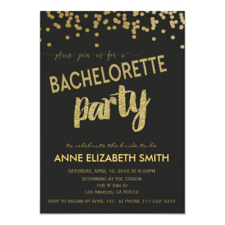 Gold Confetti Bachelorette Party Invitation