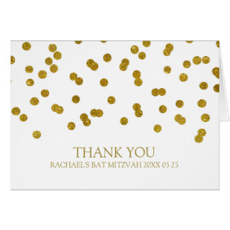 Gold Confetti Bat Mitzvah Thank You Card