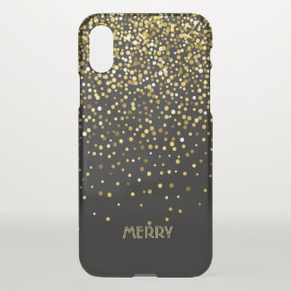 Gold Confetti Black Background iPhone X Case