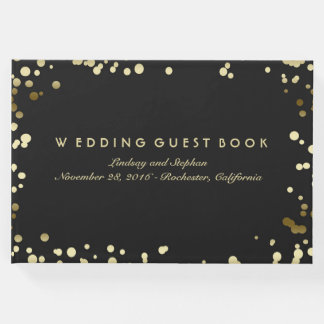 Gold Confetti Black Elegant Wedding Guest Book
