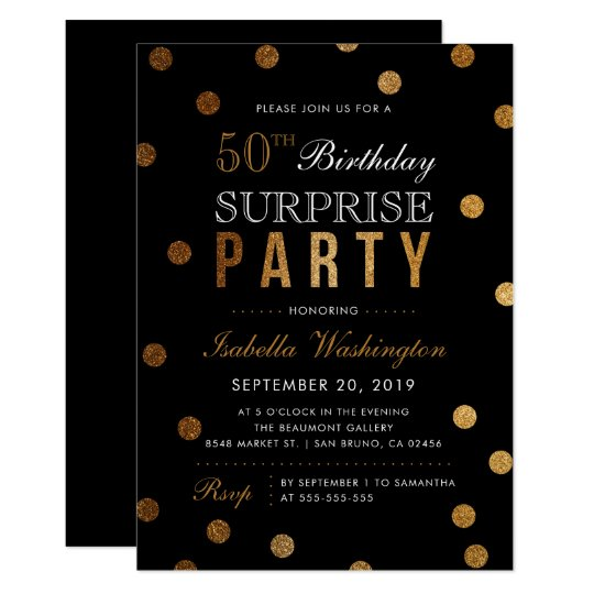 Gold Confetti & Black Surprise Birthday Party Card