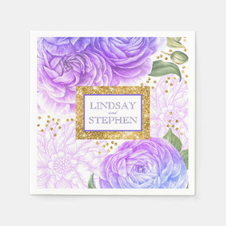 Gold Confetti Blue and Purple Vintage Floral Paper Napkin
