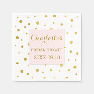 Gold Confetti Blush Pink Bridal Shower Paper Napkins