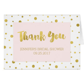 Gold Confetti Blush Pink Bridal Shower Thank You Card