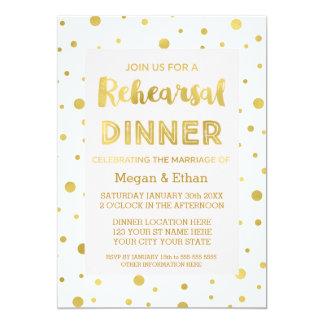 "Gold Confetti Blush Pink Rehearsal Dinner Party 5"" X 7"" Invitation Card"