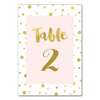 Gold Confetti Blush Wedding Table Number Cards