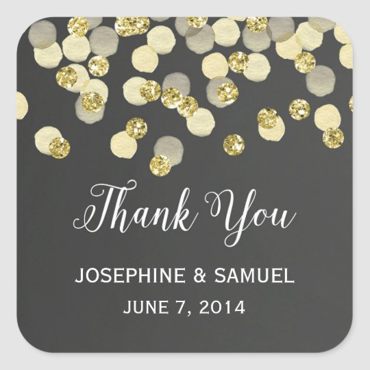 Gold Confetti Chalkboard Thank You Stickers