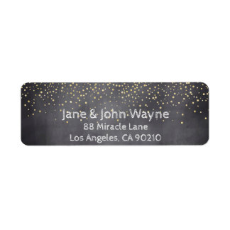 Gold Confetti Chalkboard Wedding Return Address
