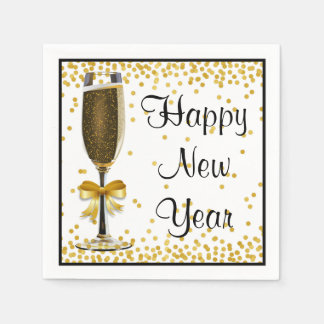 Gold Confetti Champagne Happy New Year Eve Party Disposable Napkins