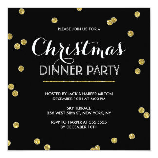 Gold Confetti Christmas Party (Custom Color) Card