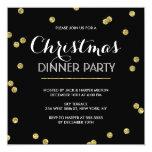 """Gold Confetti Christmas Party (Custom Colour) 5.25"""" Square Invitation Card"""