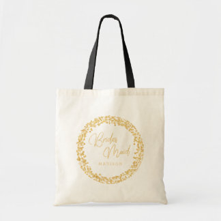 Gold Confetti Circle Frame Wedding Bridesmaid Tote Bag