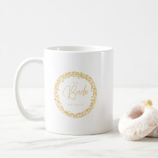 Gold Confetti Circle Frame Wedding The Bride Coffee Mug