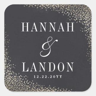 Gold confetti couples wedding sticker faux foil