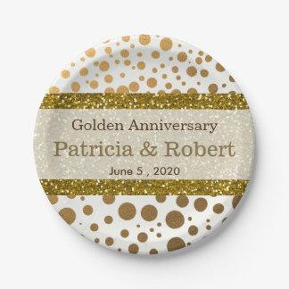 Gold Confetti Dots 50th Wedding Anniversary Paper Plate