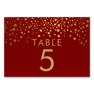 Gold Confetti Dots and Maroon Red 2 -  Table Card