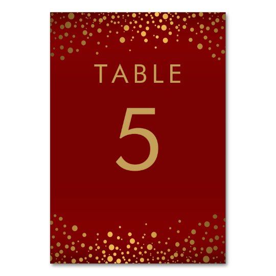 Gold Confetti Dots and Maroon Red -  Table Card