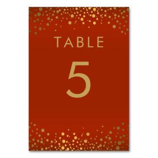 Gold Confetti Dots and Rustic Orange -  Table Card