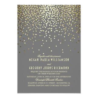 Gold Confetti Dots Elegant and Vintage Wedding Card