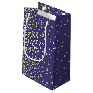 Gold Confetti Dots Elegant Navy Vintage Wedding Small Gift Bag