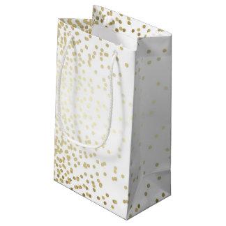 Gold Confetti Dots Elegant White Vintage Wedding Small Gift Bag