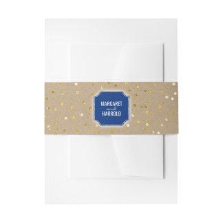 Gold Confetti Dots Vintage Navy Wedding Invitation Belly Band