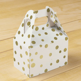 Gold Confetti Dots Wedding Favor Boxes