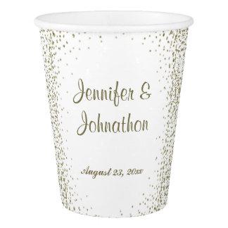 Gold Confetti Dots Wedding Reception Paper Cup