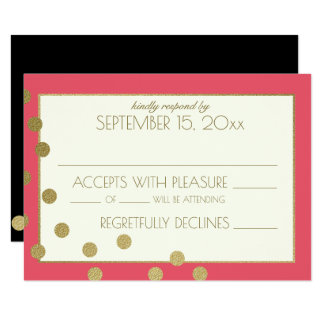 Gold Confetti Dots Wedding Response Card