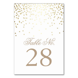 Gold Confetti Dots White Wedding Table Number