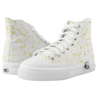 Gold confetti dotted high top sneakers