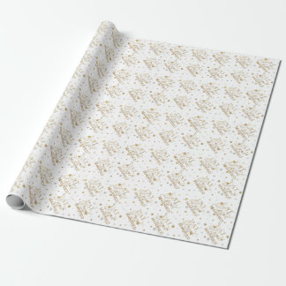 Gold Confetti Eat Drink and Be Married Wrapping Paper
