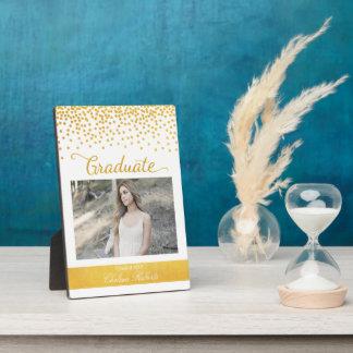 Gold Confetti Editable Color Graduate Photo Plaque