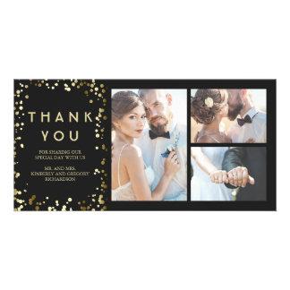 Gold Confetti Elegant Black Wedding Thank You Picture Card