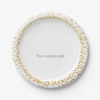 Gold Confetti Elegant Glamour Dots White Plates