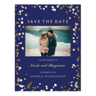 Gold Confetti Elegant Navy Photo Save the Date Postcard