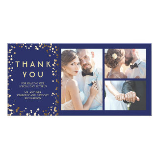 Gold Confetti Elegant Navy Wedding Thank You Photo Greeting Card