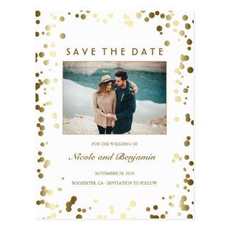 Gold Confetti Elegant White Photo Save the Date Postcard