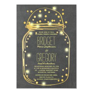 Gold Confetti Fireflies Mason Jar Rehearsal Dinner Card