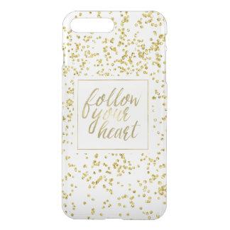 Gold Confetti Follow Your Heart iPhone 7 Plus Case