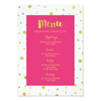 "Gold Confetti Fuchsia Hot Pink Wedding Menu 5"" X 7"" Invitation Card"