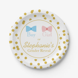 Gold Confetti Gender Reveal Bow and Bow Tie Paper Plate