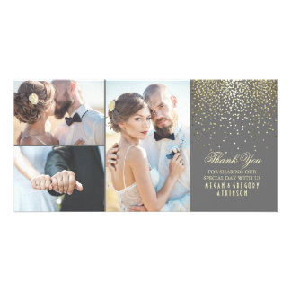 Gold Confetti Glamour Wedding Thank You Personalized Photo Card